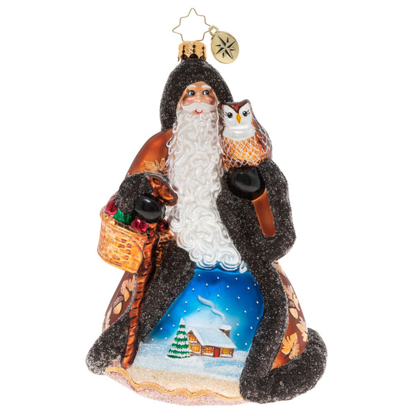 Christopher Radko Heart Of The Woodlands Santa & Owl Ornament