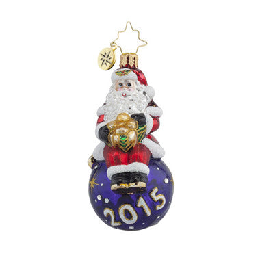 Christopher Radko 2015 Dated A YEAR TO CHEER Gem Santa Ornament