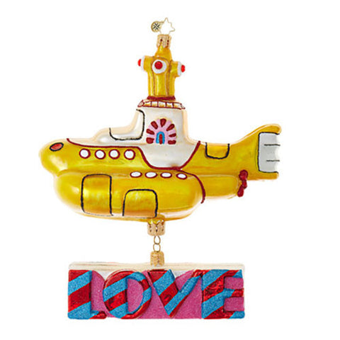 Christopher Radko The Beatles Yellow Submarine with LOVE Ornament