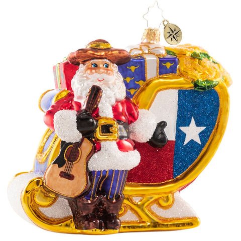 Christopher Radko Texas Santa's Lavish Lone Star Sleigh Ornament