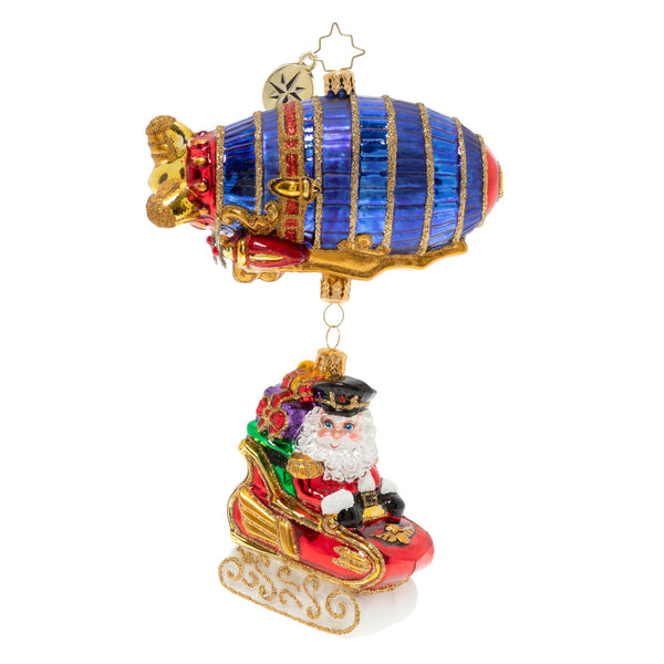 Christopher Radko Santa's Zipping Zeppelin Airship Ornament