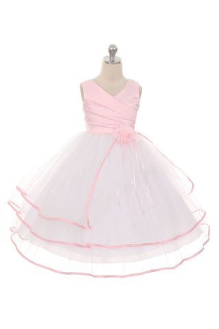Pink Satin and Tulle Flower Girls Dress (0127-PI)
