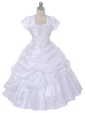 White Taffeta and Rhinestone Pageant Dress (0308-WH)