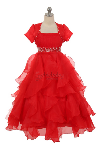 Red Organza and Tulle Long Dress (0329-Red)