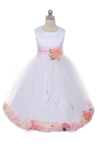 Pink Petal Flower Girl Dress (160B-WH/PI)