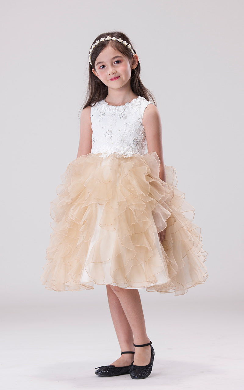 Robe à froufrou champagne (H055)