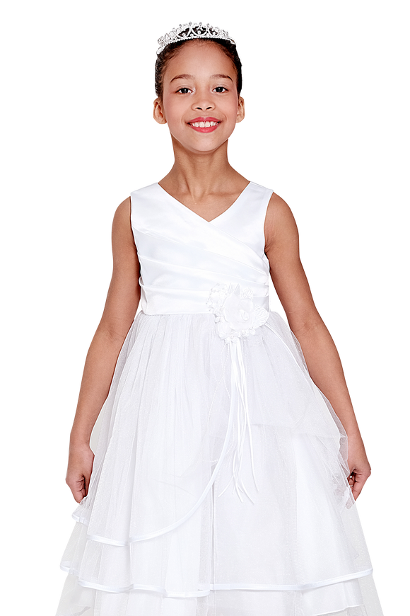 White Satin and Tulle Flower Girls Dress (0127-W)