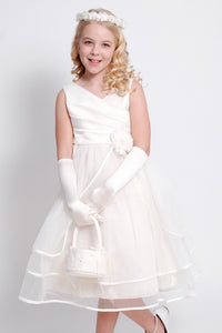 Ivory Satin and Tulle Flower Girls Dress (0127-I)