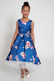 Robe Royal Rhinestone Sleeveless Hi-Low Flower Girl Dress (4385-Royal)