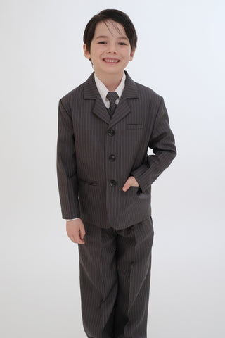 Boys suit charcoal striped (FGSTU-1)