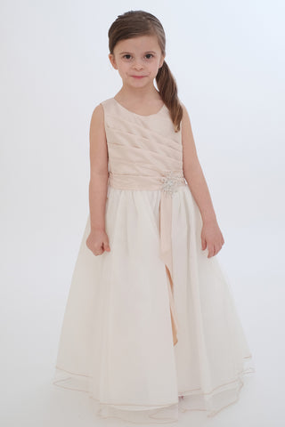 Taupe Flower Girls Dress (0303-TA)