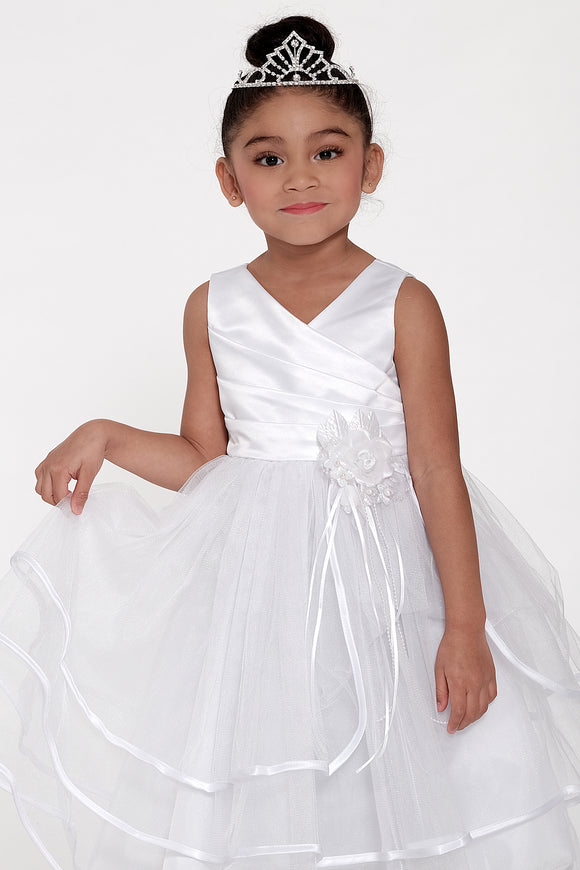 White Flower Girls Dress (0303-WH)
