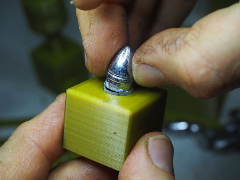 inserting bullet into the loading block