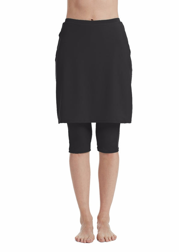Women' Black Swimwear Skirt with Leggings