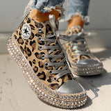 Woman Spring Leopard print Canvas Fashion Sneakers Rhinestone sequin flat Wild women's shoes  Youth casual shoes Plus Size 43