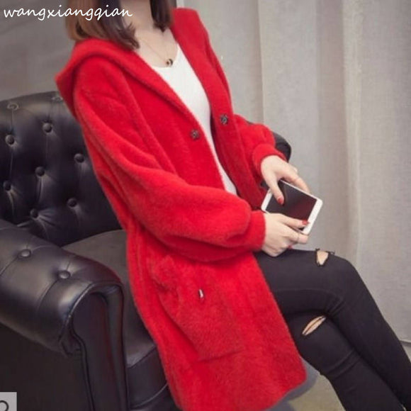 Autumn Winter Imitation Water Velvet Outwear Women's 2020 New Hooded Loose Long Paragraph Mink Sweater Coat Women Thicken A503