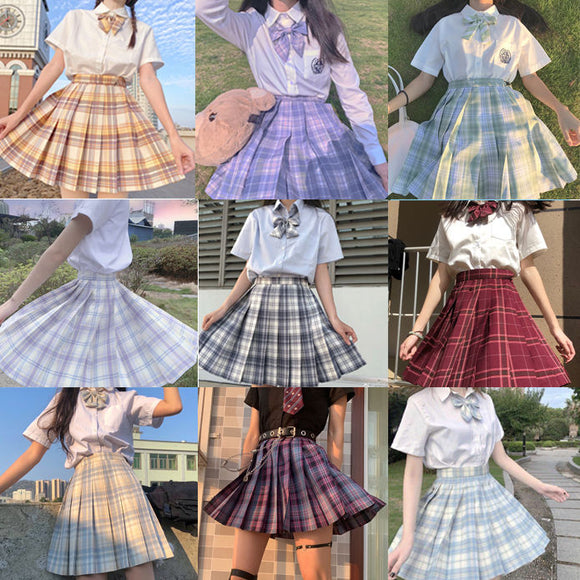 Japanese collection  jk skirt pleated skirt lattice skirt  Cute Pleated Half-Body  Women's Short  jk Uniform Sweet lolita dress