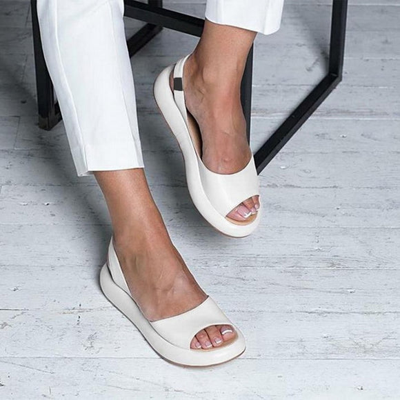Women Sandals PU Leather Shoes Summer Fashionable Open Toes Platform Chaussure Femme Sexy Women's Sandals 2020 Summer Sandals