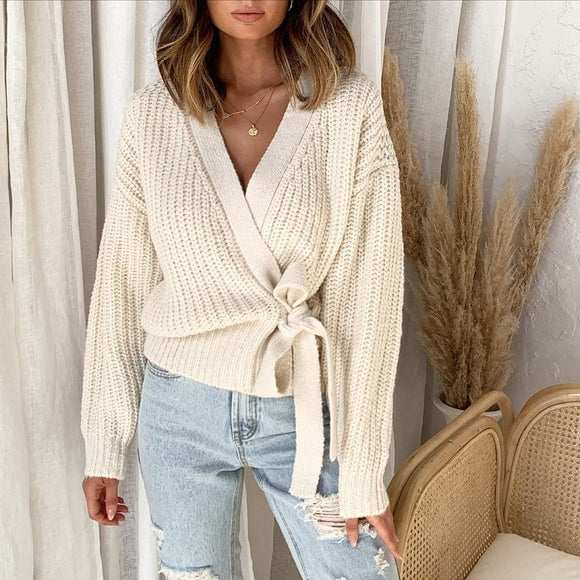 Women's Sweater Jumper 2020 Autumn and Winter Fashion Casual V-neck Strap Knit Sweater Pullover Short Sweater for women clothes