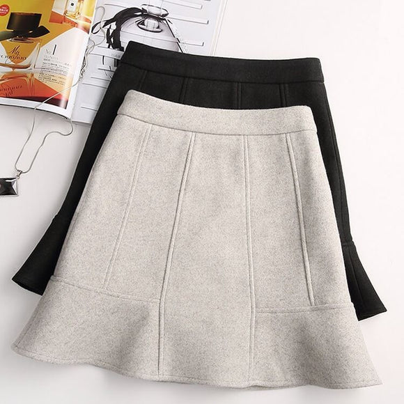 Winter Woolen Skirt Women's Warm Wool Short Mermaid Skirts Fall Spring Slim Kawai Woman Short Mini Skirts Booty Jupe Mujer