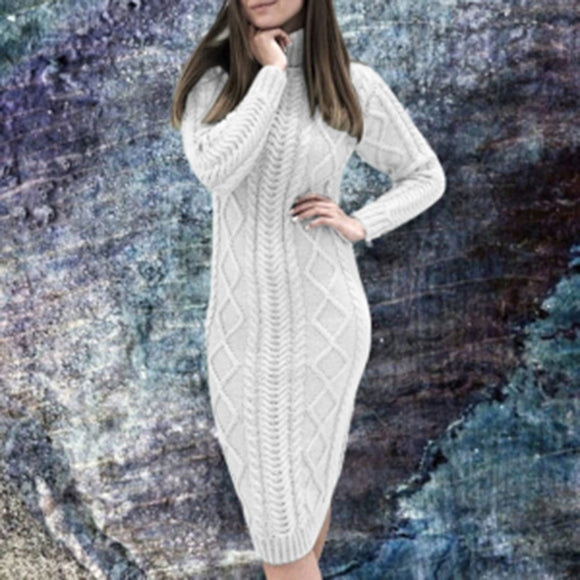 2020 New Autumn and Winter Women's Fashion Long Sleeve Turtleneck Sweater Dress Solid Slim Thick Warm Knit Pullover Midi Dresses