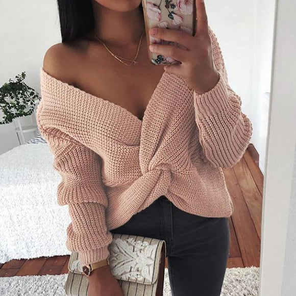 Women Knot Criss-cross V Neck Long Sleeve Loose Knitted Sweater Pullover Autumn Warm Soft Sweater