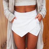Women's Summer Sexy Casual Asymmetrical Front Candy Color Tulip Skort Shorts  For Women