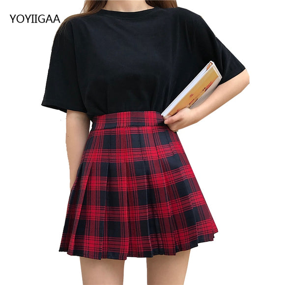 Fashion High Waist Women Pleated Skirt Slim Waist A-Line Women's Mini Skirts Summer Ladies Girls Sweet Dance Skirts Plaid Skirt