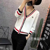 Women's tops 2020 autumn and winter new embroidery little bee sweater open loose long-sleeved V-neck jacket