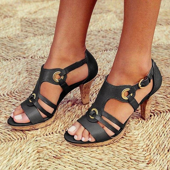 Women's Sandals High heels Woman Bohemia Pumps Fashion Women Hollow Out Sandals Outdoor Summer Shoes Women Chaussures Femme