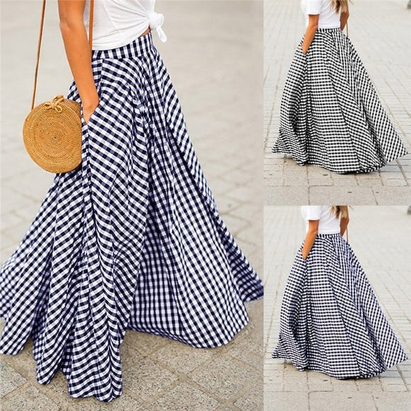2020 Women's Skirts Vintage Plaid Check Long Skirt Zipper Pleated  Bohemian Femme Casual Pockets Maxi Skirts