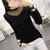 Autumn and Winter New Women's Clothing Slim-Fit Turtleneck Pullover Bottoming Sweater Lace Stitching Long Sleeve Sweater