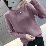New 2020 Autumn Winter Knitted Turtleneck Pullover Sweater Women O-neck Long Sleeve Knitted Sweaters Female Khaki Purple Jumper
