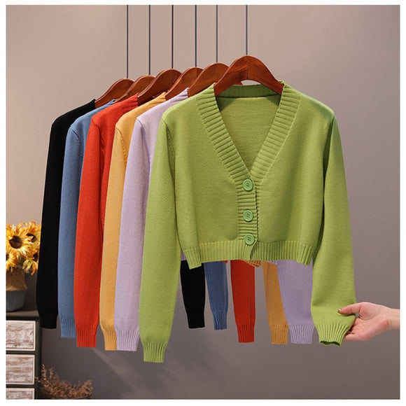 Knit cardigan crop top open stitch Sweater coat loose Women's sweater short autumn 2020 women's clothing cardigan Thin top