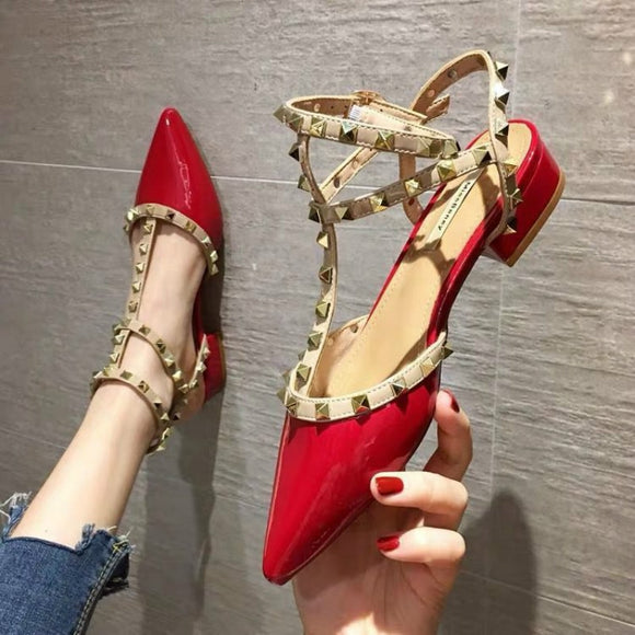 Women's Sandals 2020 New Baotou Word Buckle Thick Heel Pointed Rivets High Heels Fashion Women's Shoes Orange Wild Sandals Women