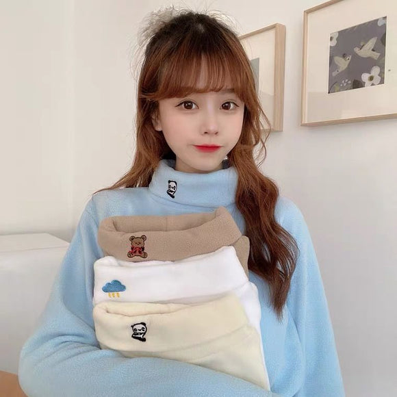 Polar Fleece Bottoming Shirt Women's Winter Turtleneck Top Embroidery Woman Sweaters Femme Chandails Pull Hiver