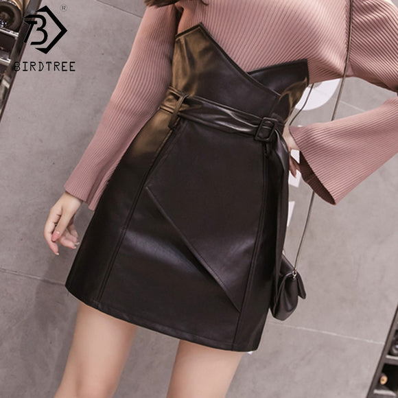 2019 Women's Solid A-Line Short Skirts Zipper Black High Waist Sashes Bottom Summer Office Lady New Fashion Hots Sales B8D723J