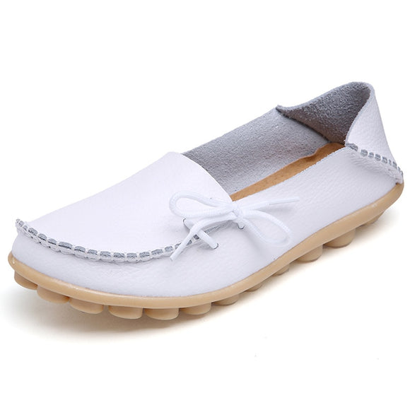 Women Flats Fashion Cow Leather Flats Women Slip On Women's Loafers Female Comfort Shoes Large Size 34-44
