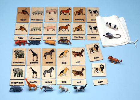 Match or Memory: Animals 3-Part Wood Tiles with Objects (C)