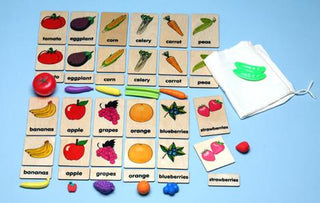 Match or Memory: Fruits & Veggies 3-Part Wood Tiles with Objects (C)