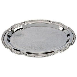 Tray: Stainless Steel Elegant Oval Scroll (C)