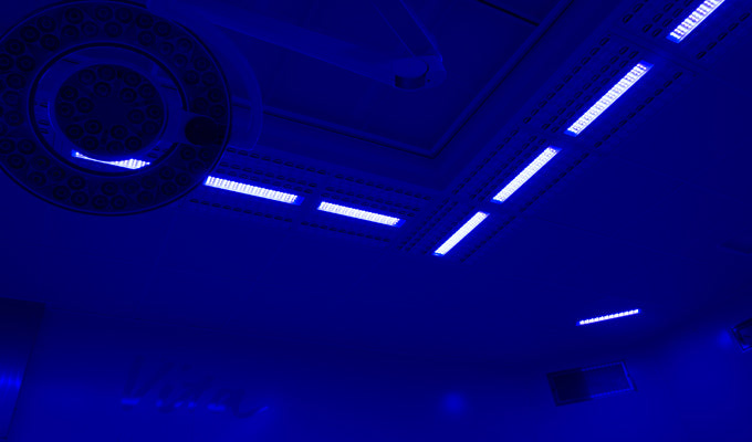 Halton's integrated operating room ventilation system with blue light disinfection