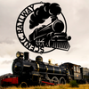 stylized steam locomotive customizable laser cut steel plaque for train room or man cave