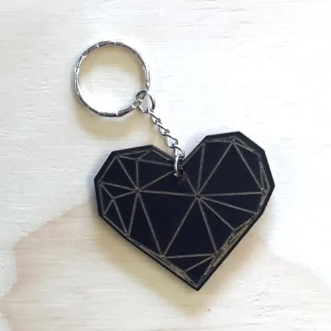 Geo Heart Key Ring