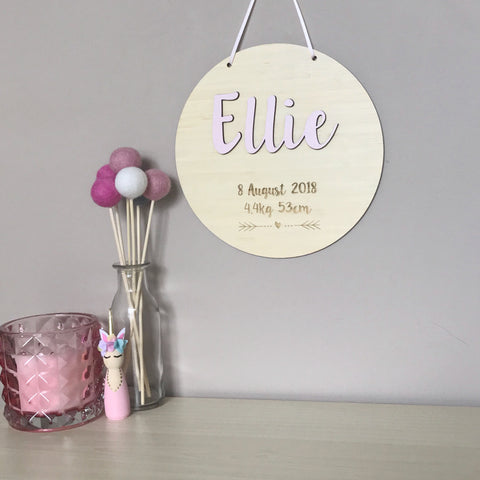 3D Birth Plaque