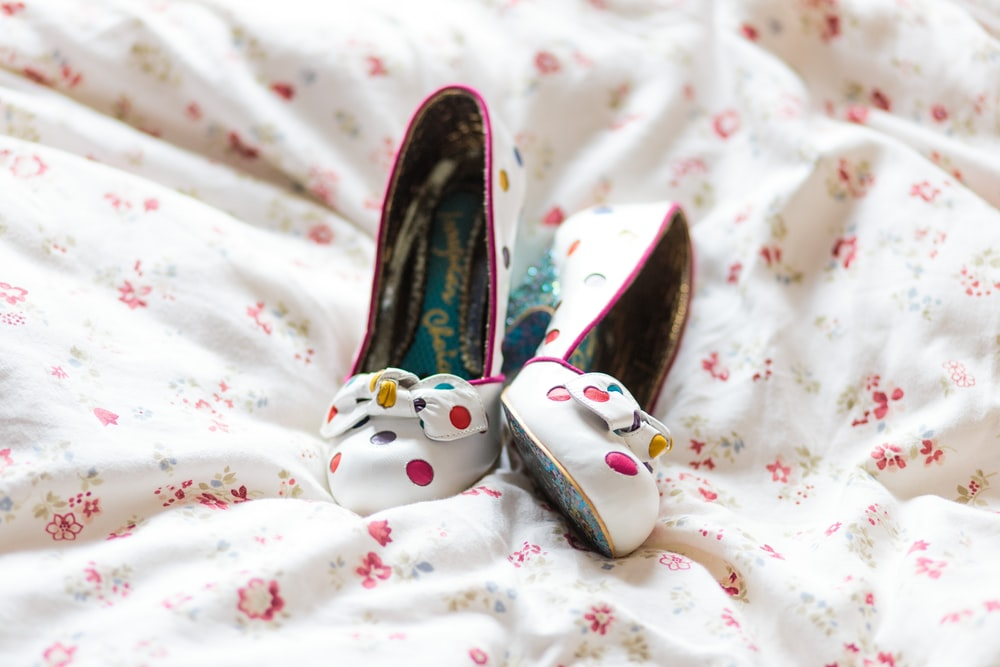 vintage-inspired pumps with colorful polka dots