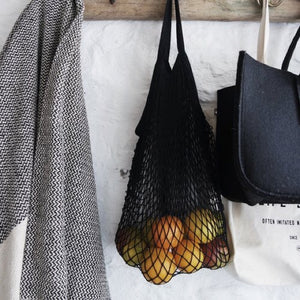french cotton mesh market bag - black or natural- small