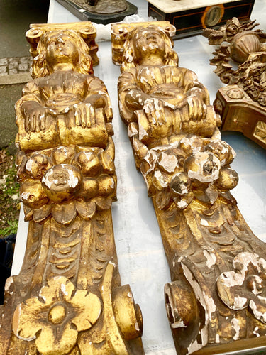SOLD - gold gilded caryatids