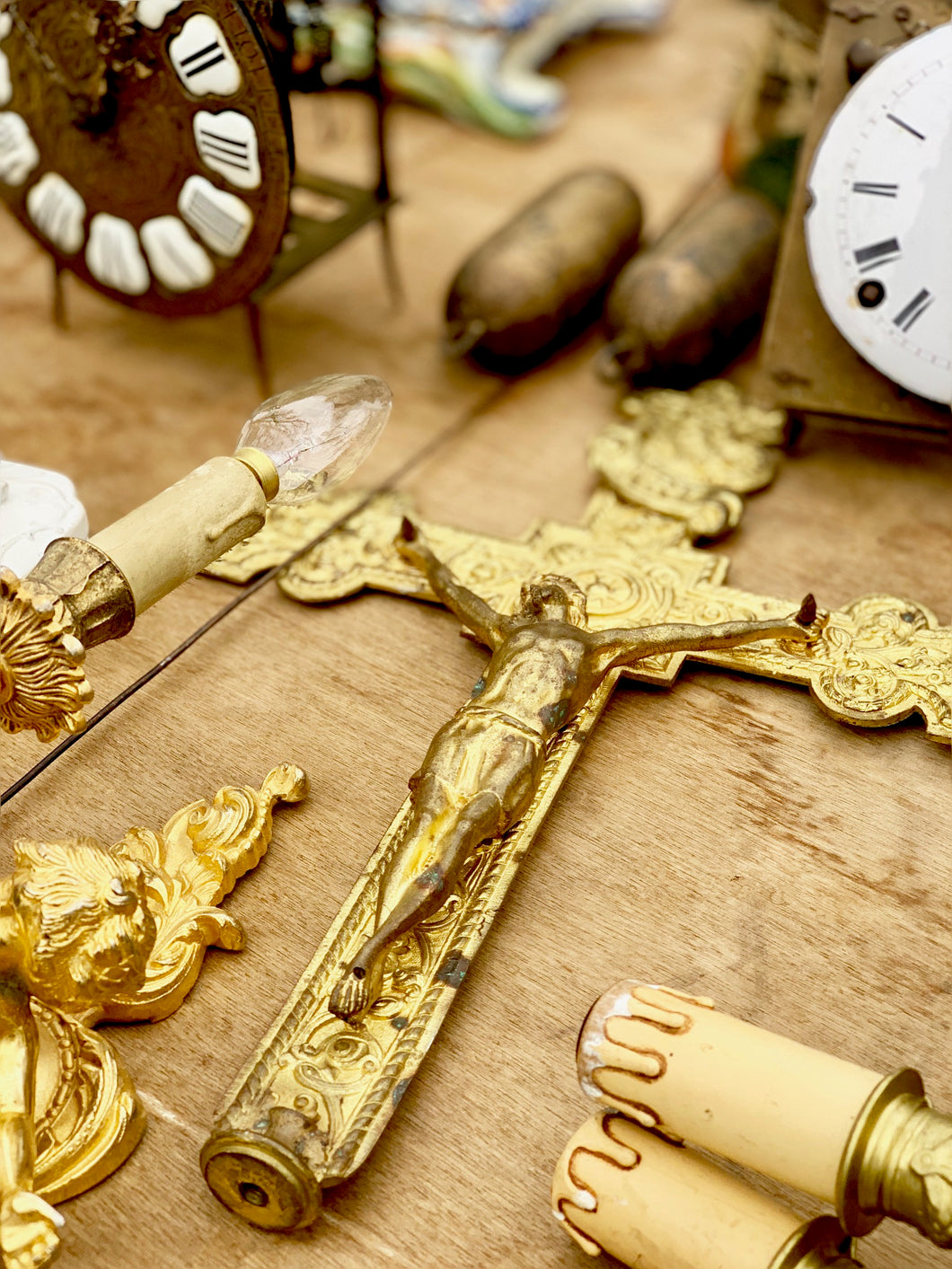 SOLD - gold / brass cross from a processional staff