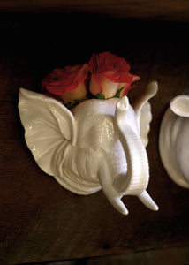 porcelain elephant head wall vase